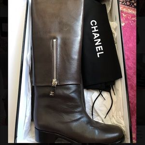 Chanel Brown Leather Foldover Zip Knee High Boots